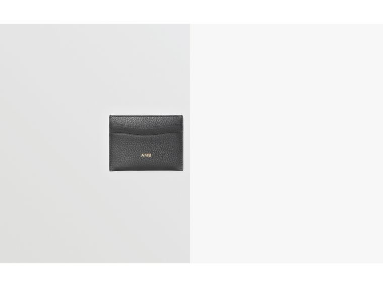 Grainy Leather Card Case in Black | Burberry Australia - cell image 1
