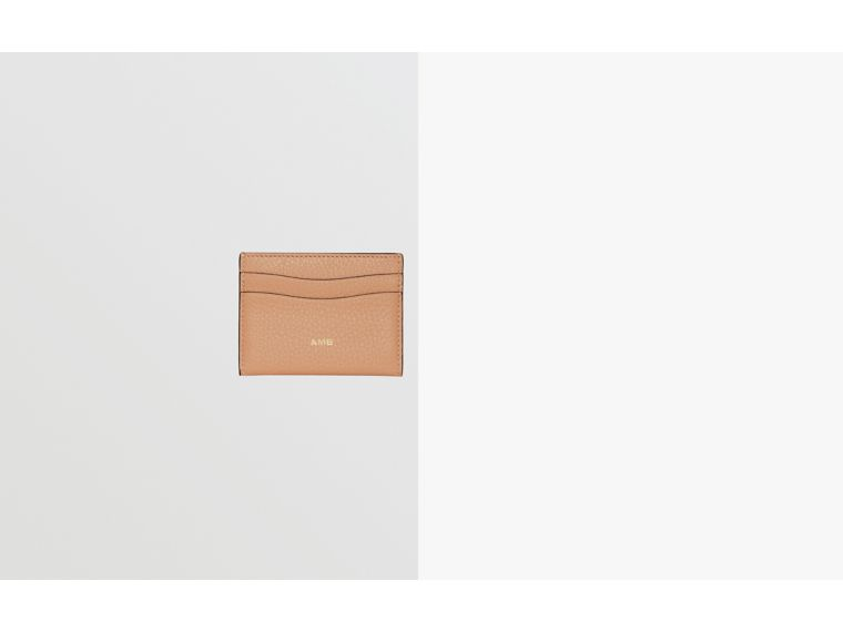 Grainy Leather Card Case in Light Camel | Burberry Canada - cell image 1