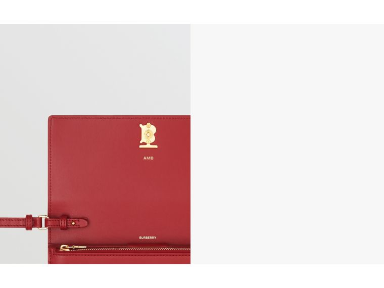 Monogram Motif Leather Wallet with Detachable Strap in Crimson - Women | Burberry - cell image 1