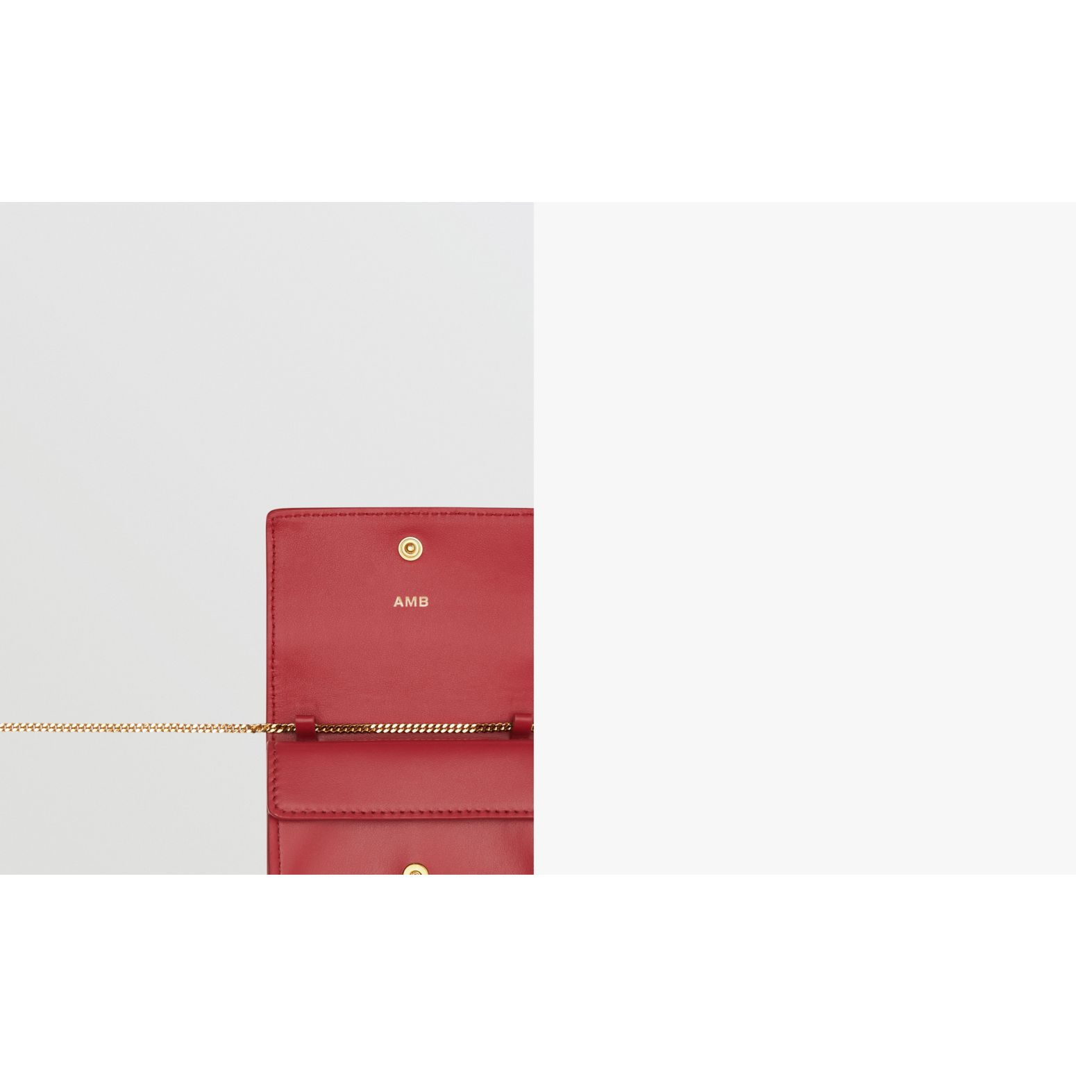 Leather Card Case with Detachable Strap in Crimson | Burberry - gallery image 1