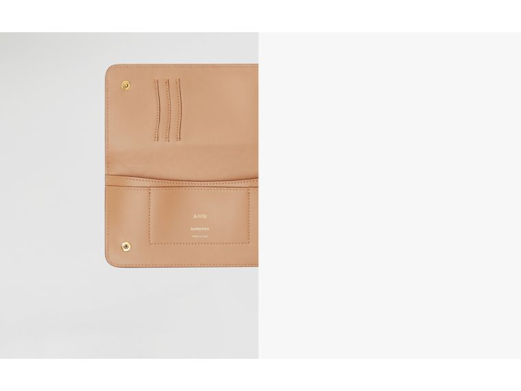 Monogram Leather Phone Wallet in Light Camel | Burberry Australia - cell image 1