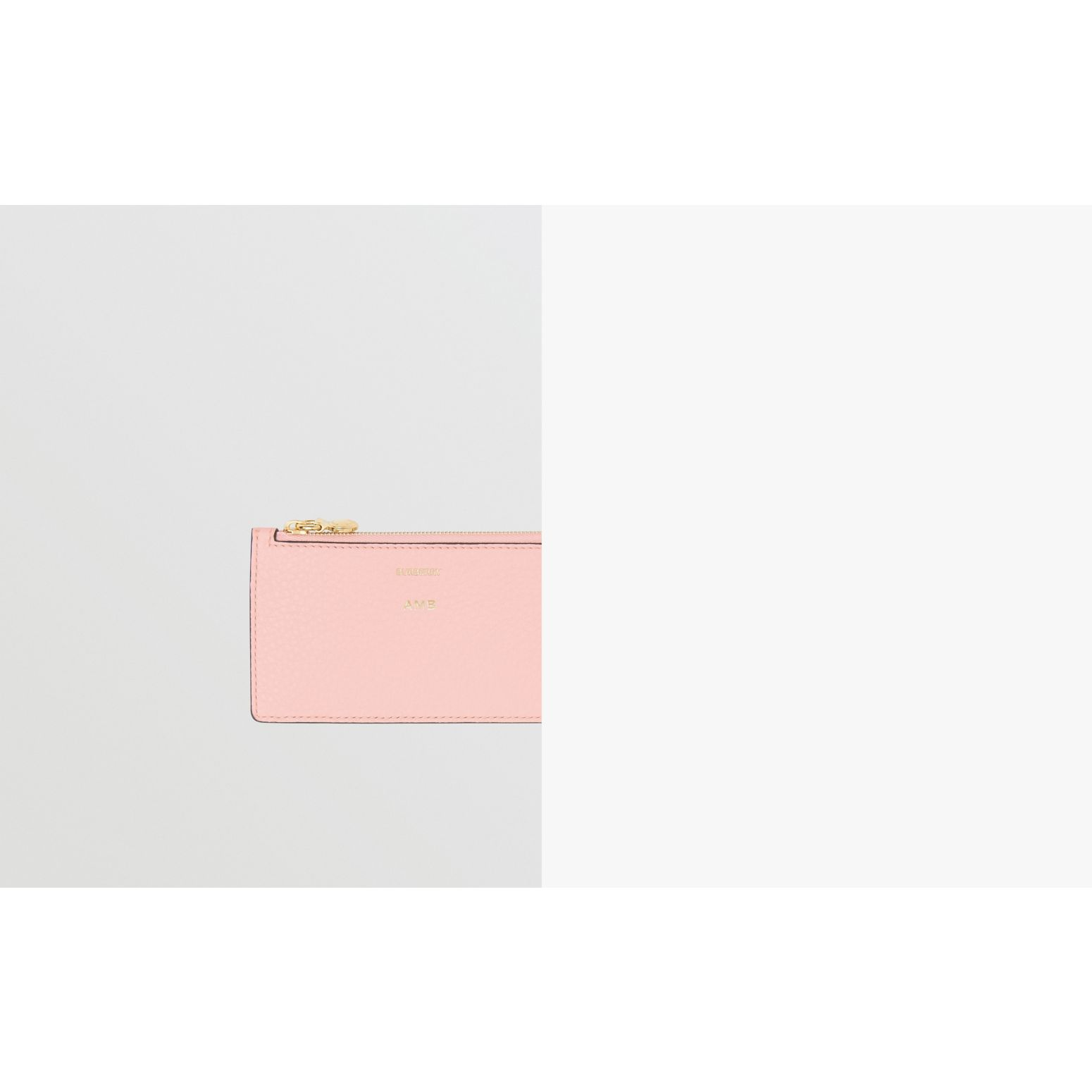 Leather Zip Card Case in Pale Ash Rose | Burberry - gallery image 1