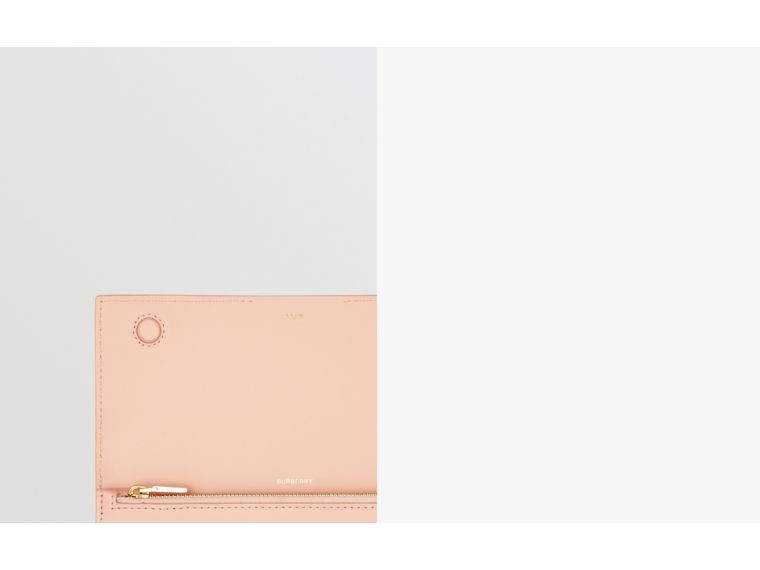Horseferry Embossed Leather Continental Wallet in Blush Pink - Women | Burberry - cell image 1