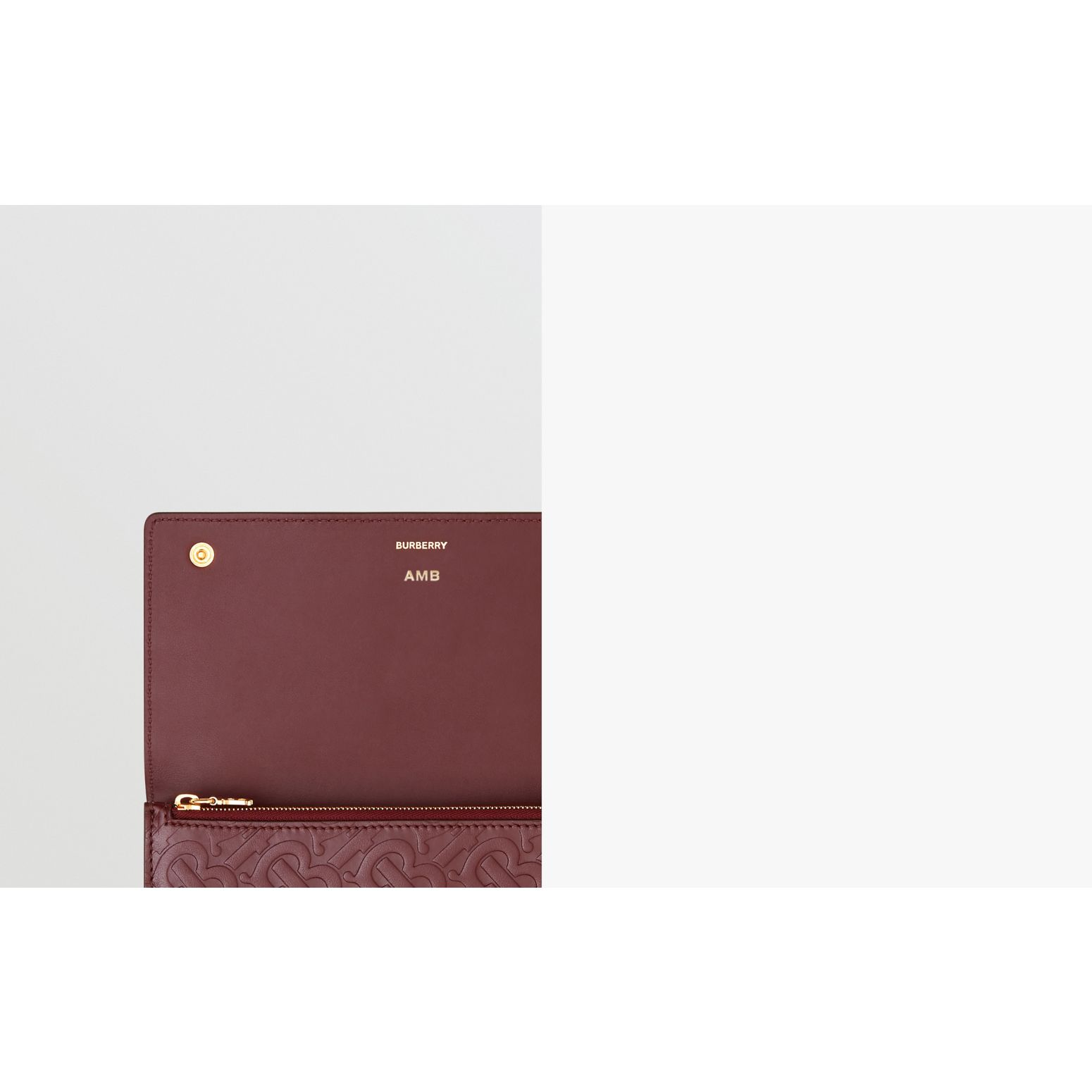 Monogram Leather Continental Wallet in Oxblood - Women | Burberry Canada - gallery image 1