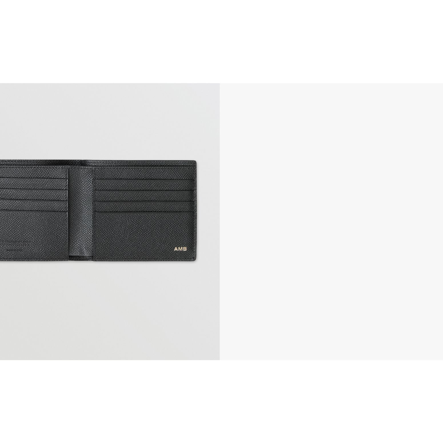 Grainy Leather Bifold Wallet with ID Card Case in Black - Men | Burberry - gallery image 1