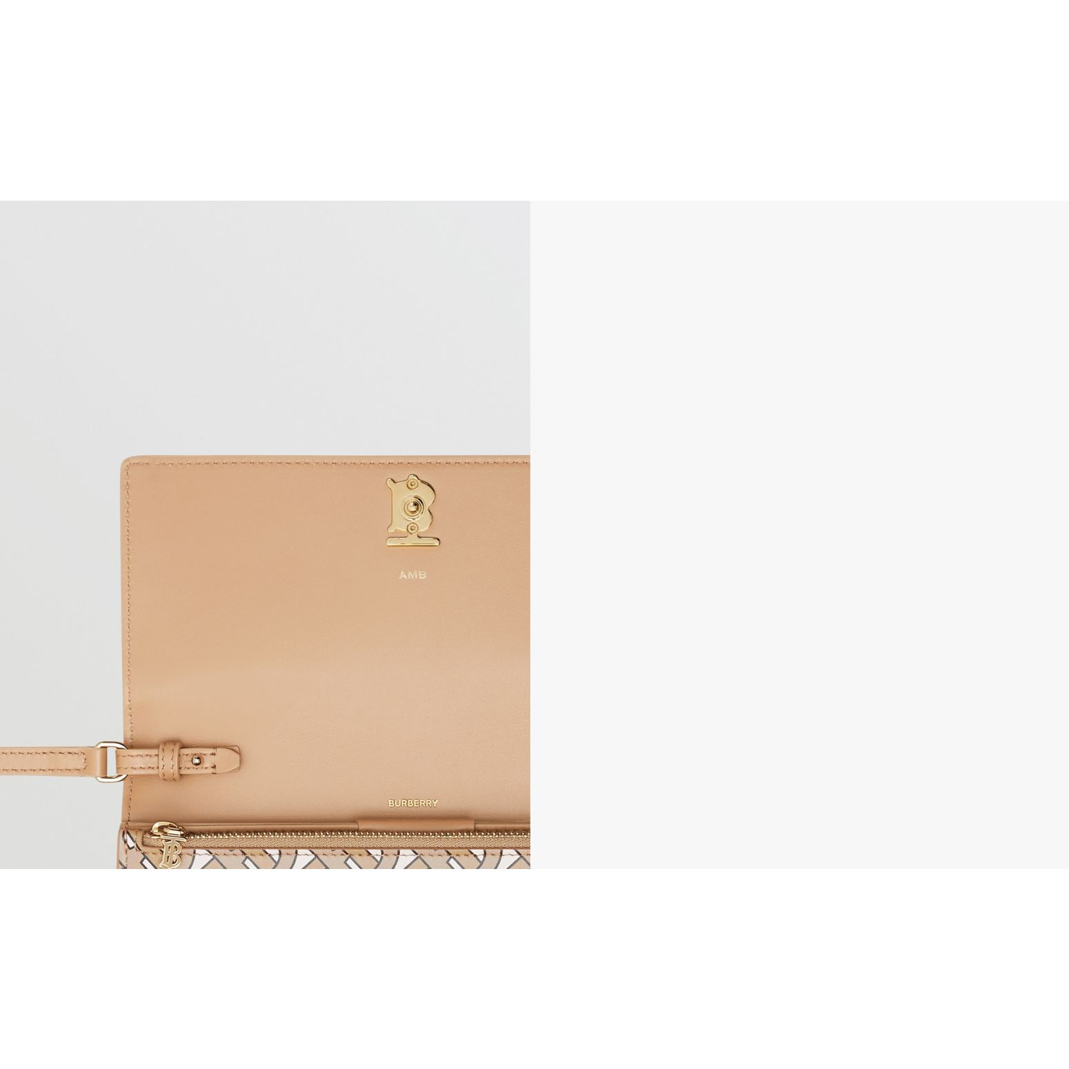 Portefeuille en cuir Monogram avec sangle amovible (Beige) - Femme | Burberry - photo de la galerie 1