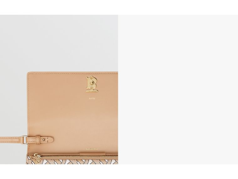 Monogram Print Leather Wallet with Detachable Strap in Beige - Women | Burberry Canada - cell image 1