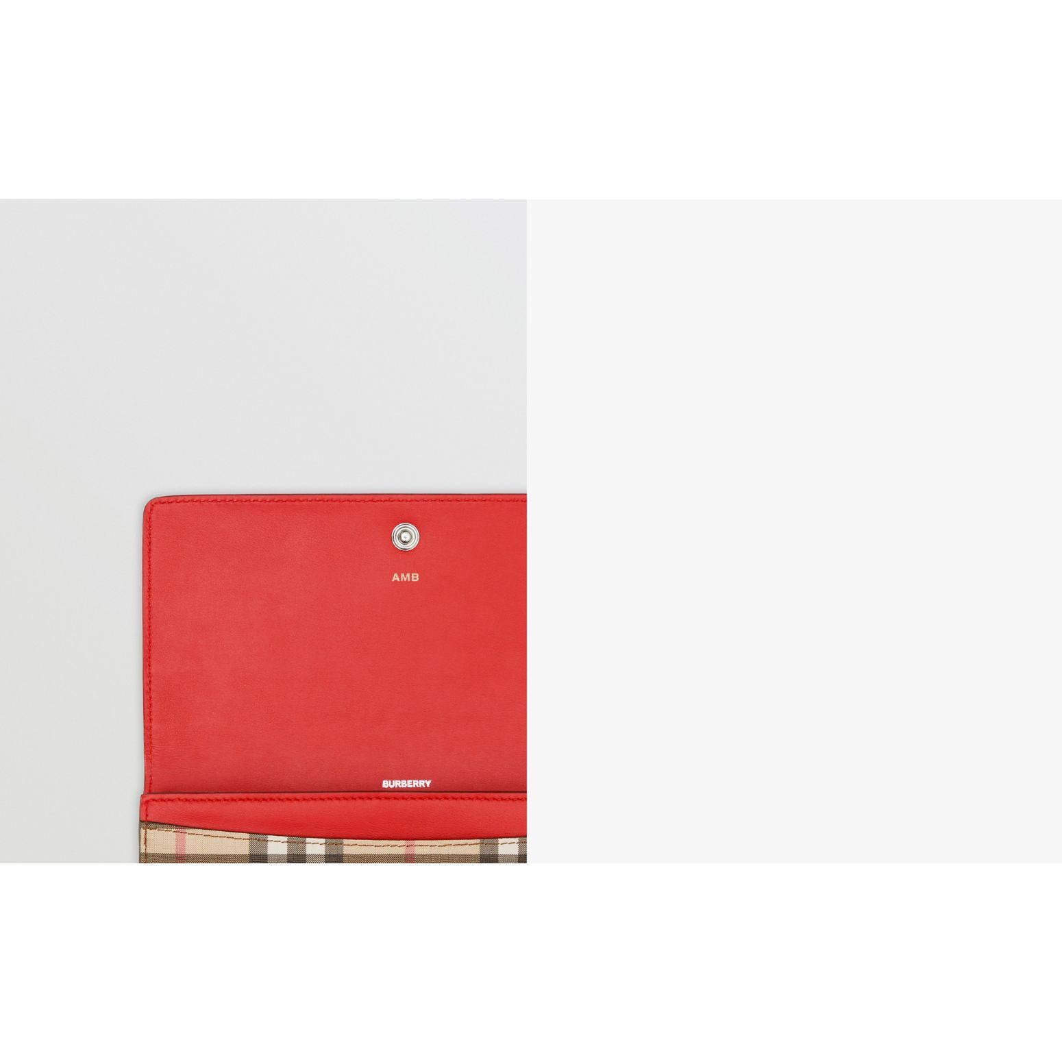 Vintage Check and Leather Continental Wallet in Bright Military Red - Women | Burberry United States - gallery image 1