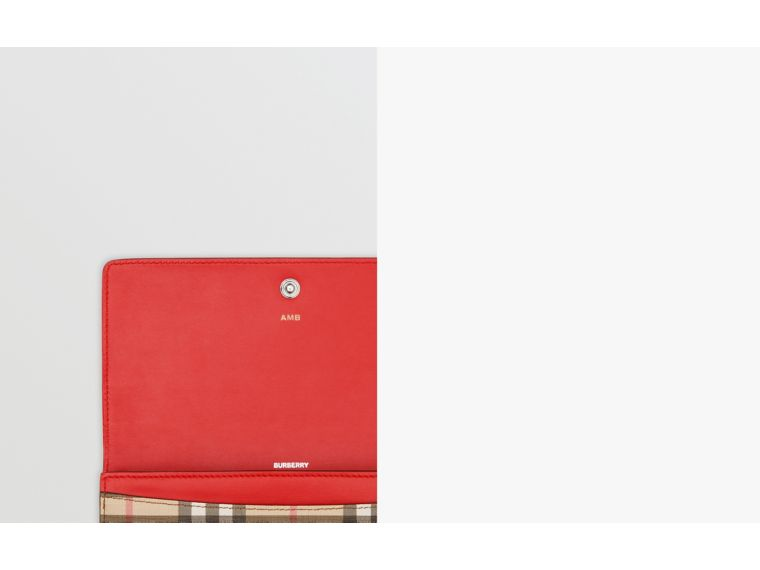 Vintage Check and Leather Continental Wallet in Bright Military Red - Women | Burberry United States - cell image 1