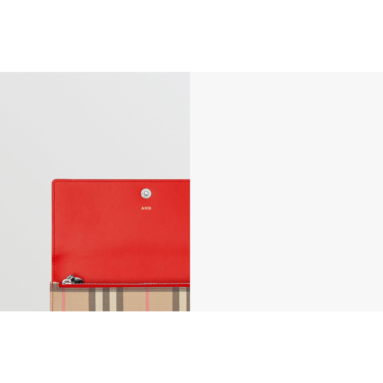 Vintage Check E-canvas and Leather Continental Wallet in Bright Military Red - Women | Burberry - gallery image 1
