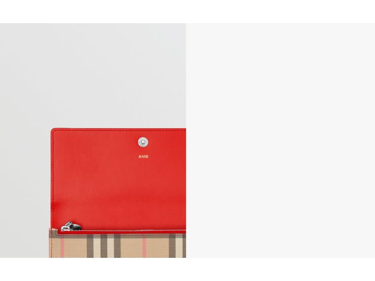 Vintage Check E-canvas and Leather Continental Wallet in Bright Military Red - Women | Burberry - cell image 1