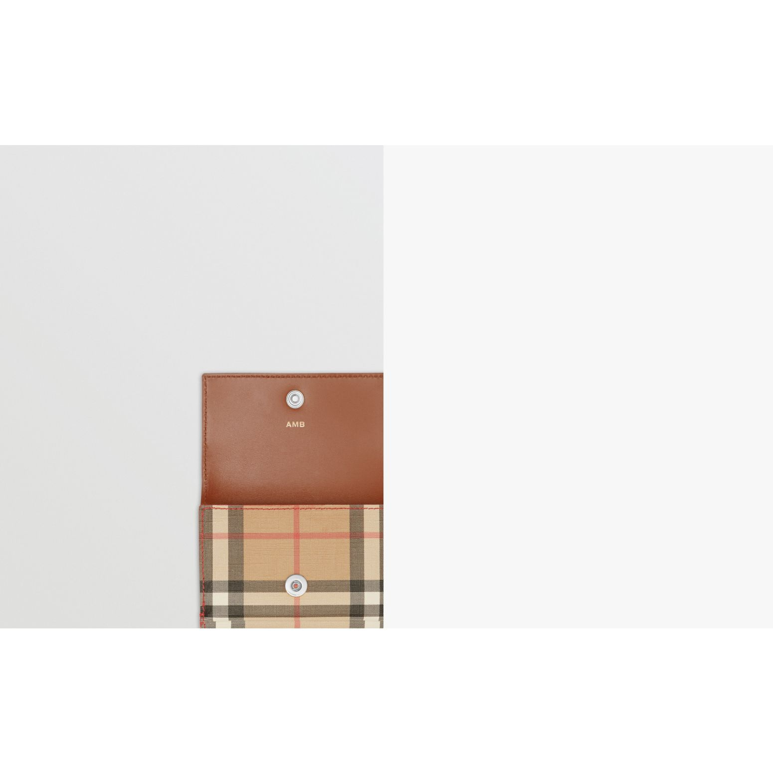 Petit portefeuille à rabat en toile écologique Vintage check (Brun Malt) - Femme | Burberry Canada - photo de la galerie 1