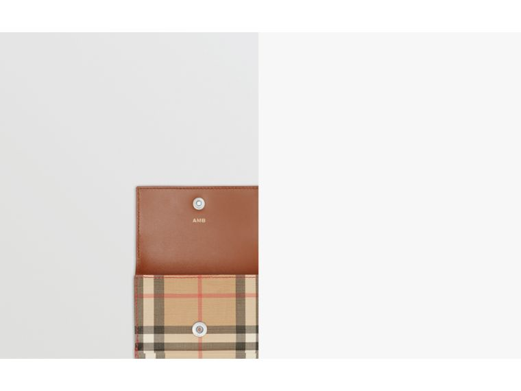 Small Vintage Check E-canvas Folding Wallet in Malt Brown - Women | Burberry Hong Kong S.A.R - cell image 1