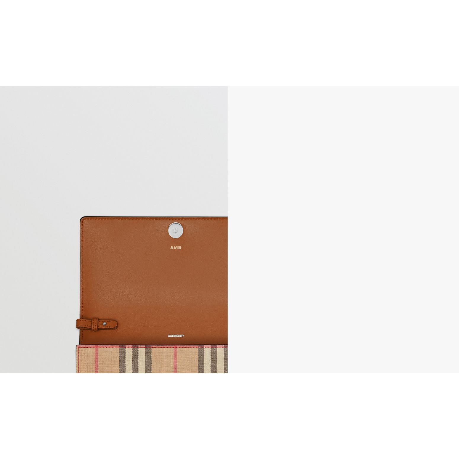 Vintage Check E-canvas Wallet with Detachable Strap in Malt Brown - Women | Burberry United Kingdom - gallery image 1