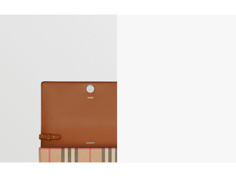 Vintage Check E-canvas Wallet with Detachable Strap in Malt Brown - Women | Burberry United Kingdom - cell image 1