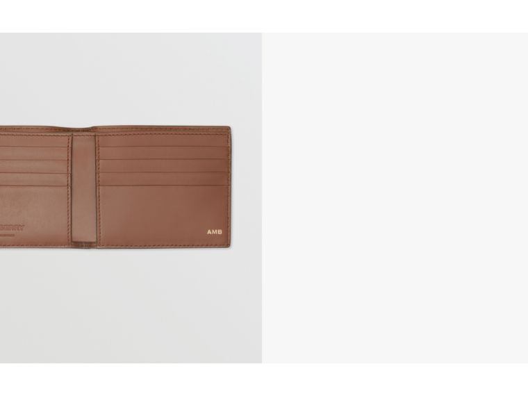 Monogram Leather International Bifold Wallet in Dark Tan - Men | Burberry Australia - cell image 1