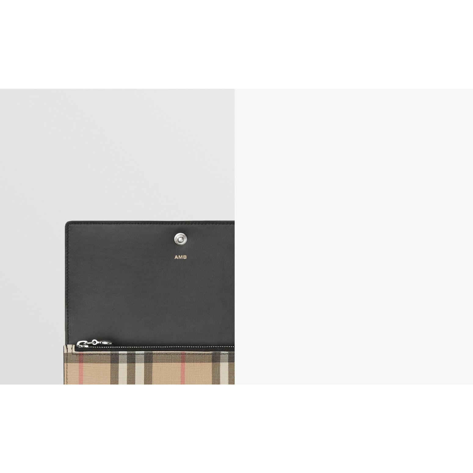 Logo Graphic Vintage Check E-canvas Continental Wallet in Archive Beige - Women | Burberry - gallery image 1