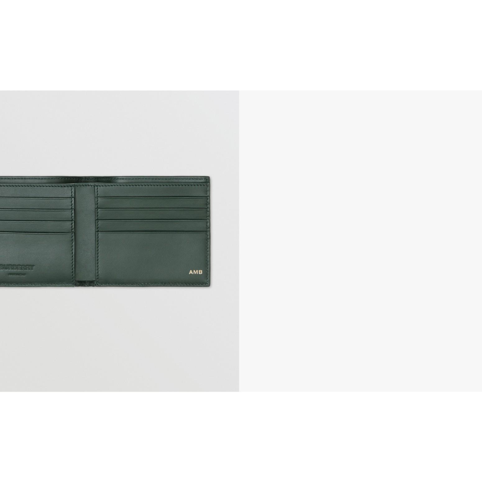 Monogram Leather International Bifold Wallet in Dark Pine Green - Men | Burberry United Kingdom - gallery image 1