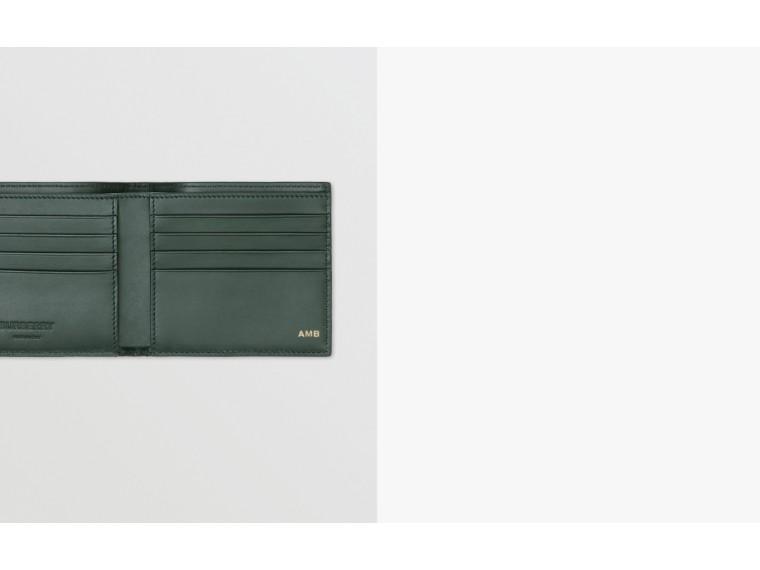Monogram Leather International Bifold Wallet in Dark Pine Green - Men | Burberry United Kingdom - cell image 1