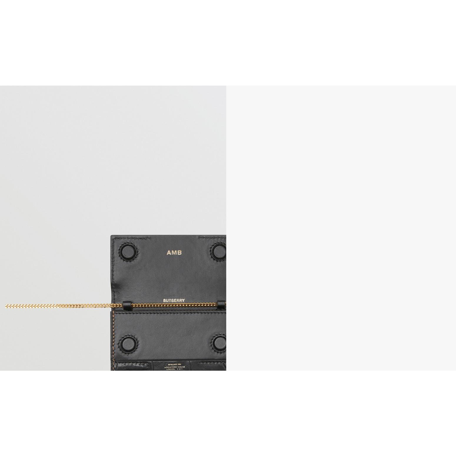Porta-cartões de couro e camurça com alça removível (Branco/bordo/preto) - Mulheres | Burberry - galeria de imagens 1
