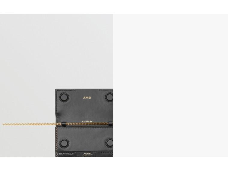 Porta-cartões de couro e camurça com alça removível (Branco/bordo/preto) - Mulheres | Burberry - cell image 1