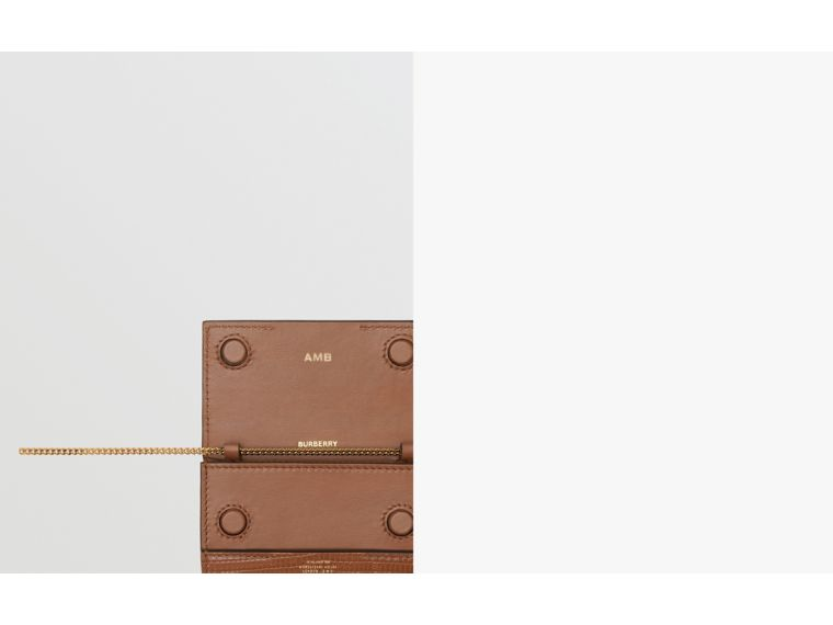 Embossed Deerskin Card Case with Chain Strap in Tan - Women | Burberry - cell image 1