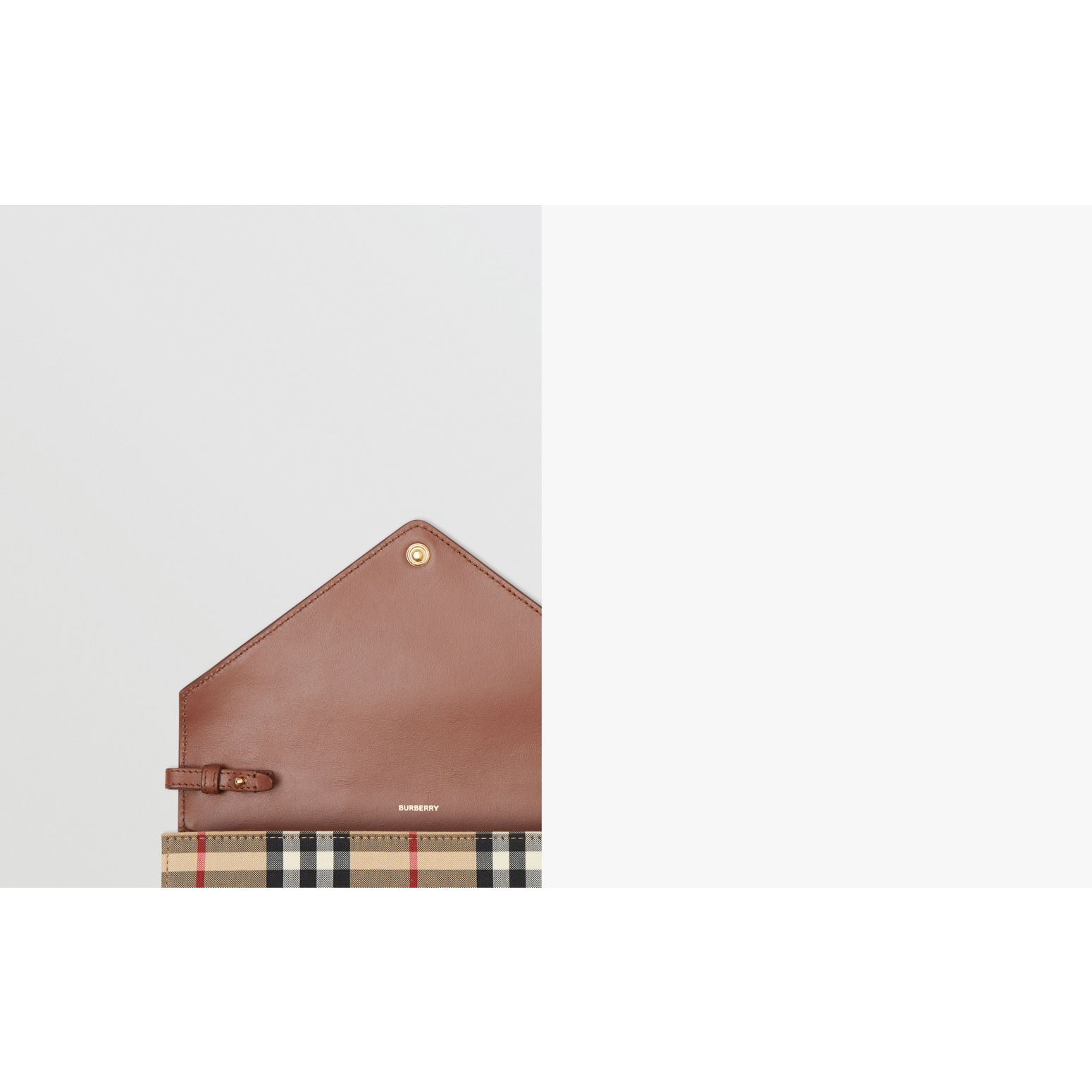 Vintage Check and Leather Wallet with Detachable Strap in Tan - Women | Burberry - gallery image 1