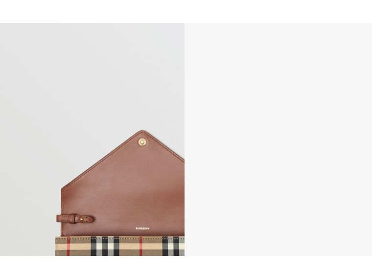 Vintage Check and Leather Wallet with Detachable Strap in Tan - Women | Burberry - cell image 1