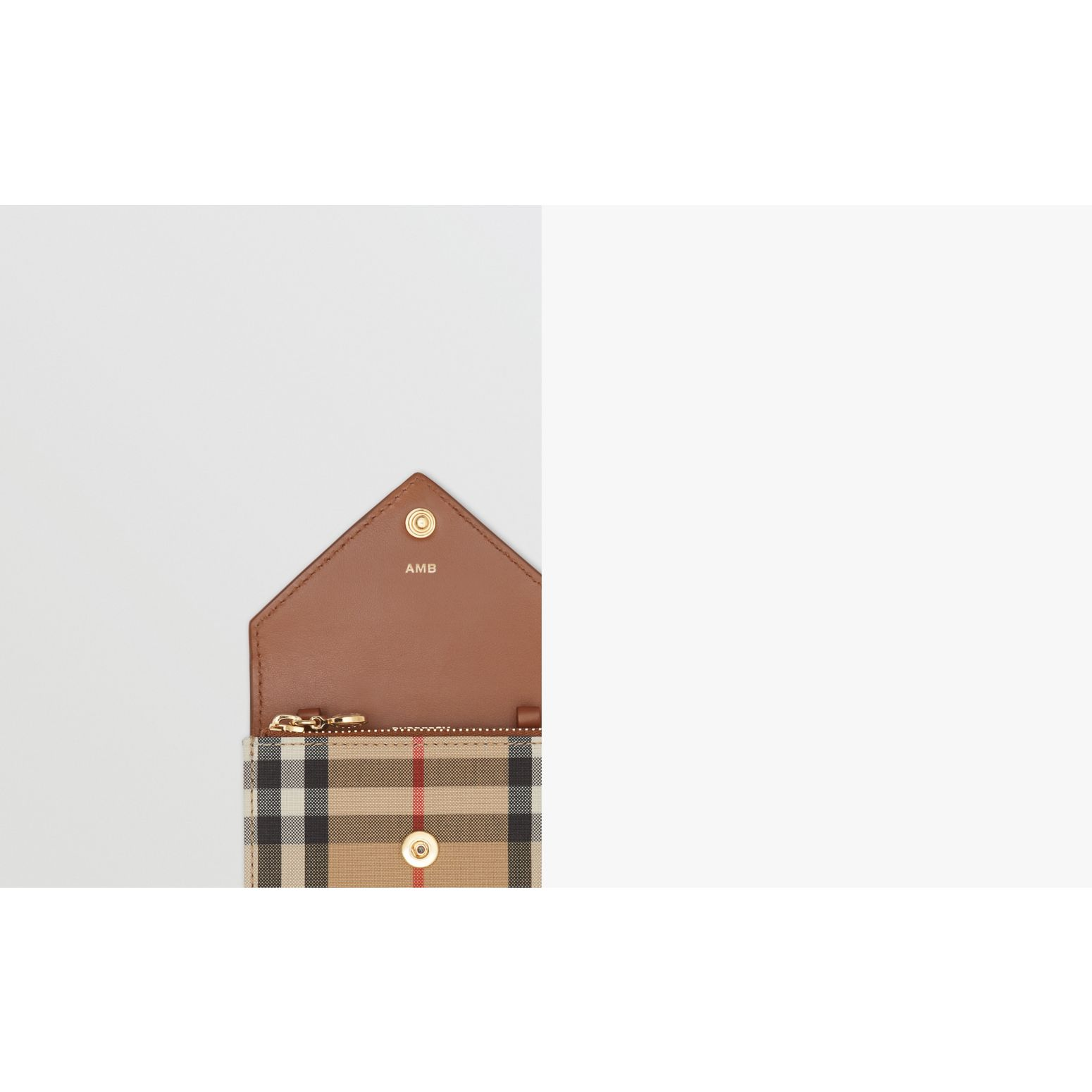 Vintage Check and Leather Card Case with Strap in Tan - Women | Burberry - gallery image 1