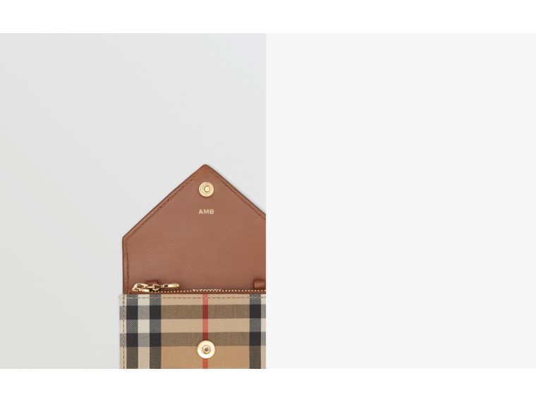 Vintage Check and Leather Card Case with Strap in Tan - Women | Burberry - cell image 1