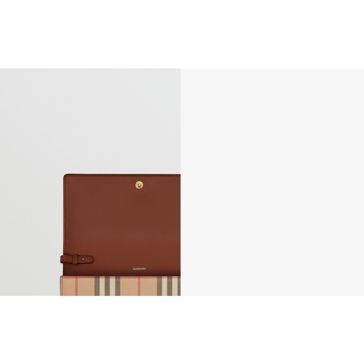 Icon Stripe E-canvas Wallet with Detachable Strap in Archive Beige - Women | Burberry - gallery image 1