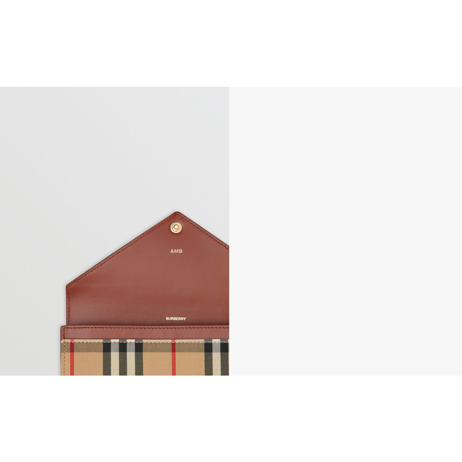 Vintage Check and Leather Continental Wallet in Tan - Women | Burberry - gallery image 1