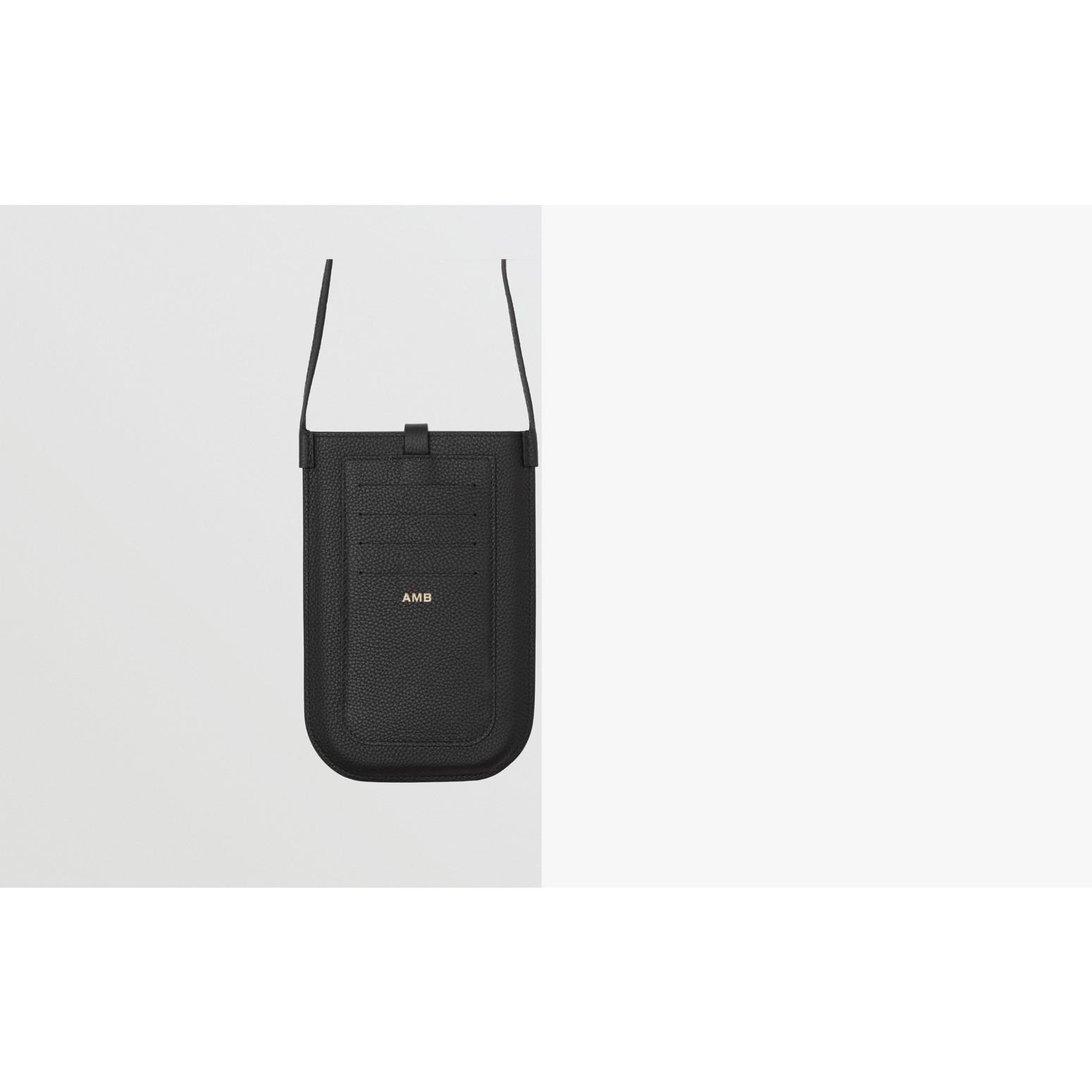 Smartphone-Etui aus genarbtem Leder mit Riemen (Schwarz)   Burberry - Galerie-Bild 1