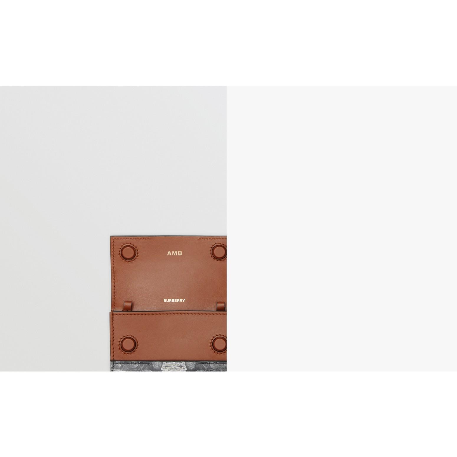 Kartenetui aus Leder mit Affenmotiven und Kettenriemen (Schwarz/weiß) | Burberry - Galerie-Bild 1