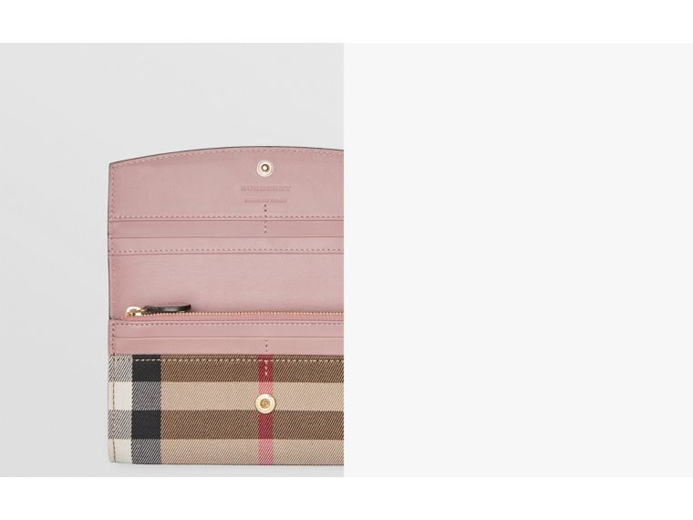 House Check And Leather Continental Wallet in Pale Orchid - Women | Burberry - cell image 1