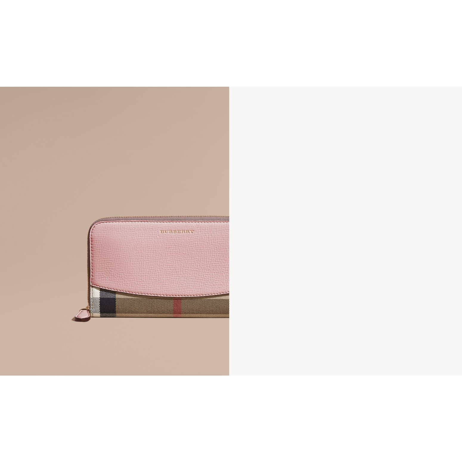House Check and Leather Ziparound Wallet in Pale Orchid - Women | Burberry Singapore - gallery image 2