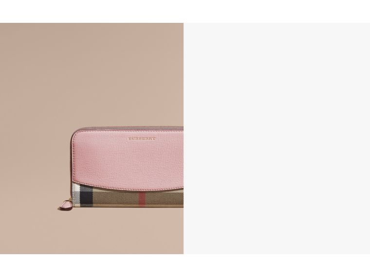 House Check and Leather Ziparound Wallet in Pale Orchid - cell image 1
