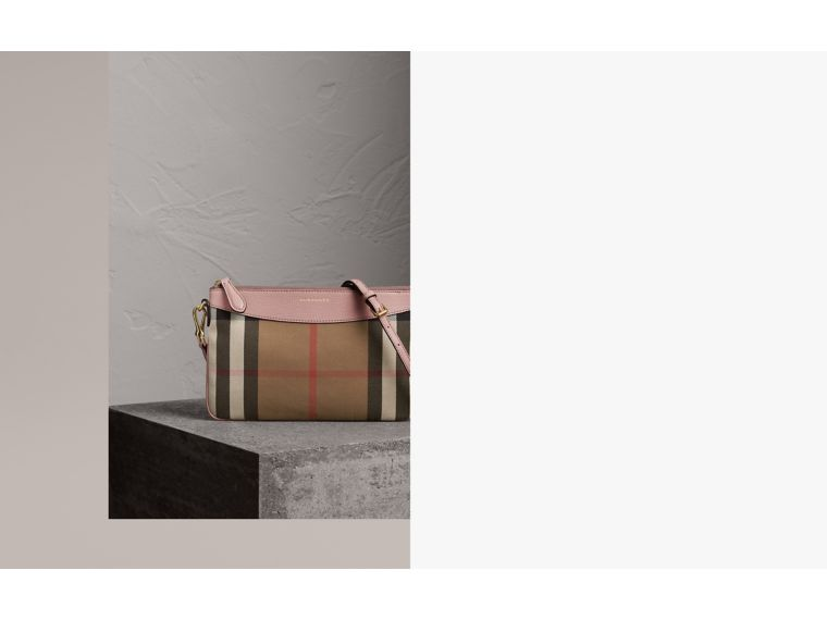 House Check and Leather Clutch Bag in Pale Orchid - Women | Burberry - cell image 1