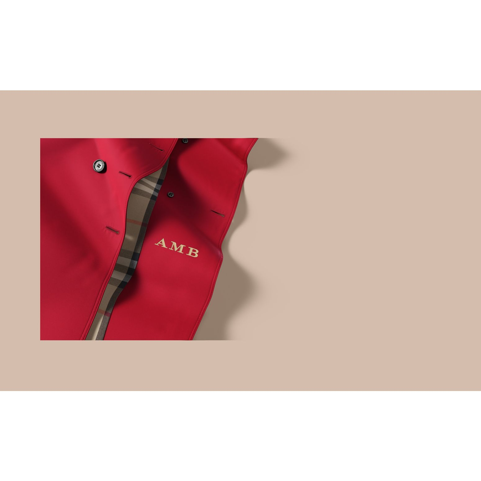 The Chelsea – Short Heritage Trench Coat in Parade Red - gallery image 2