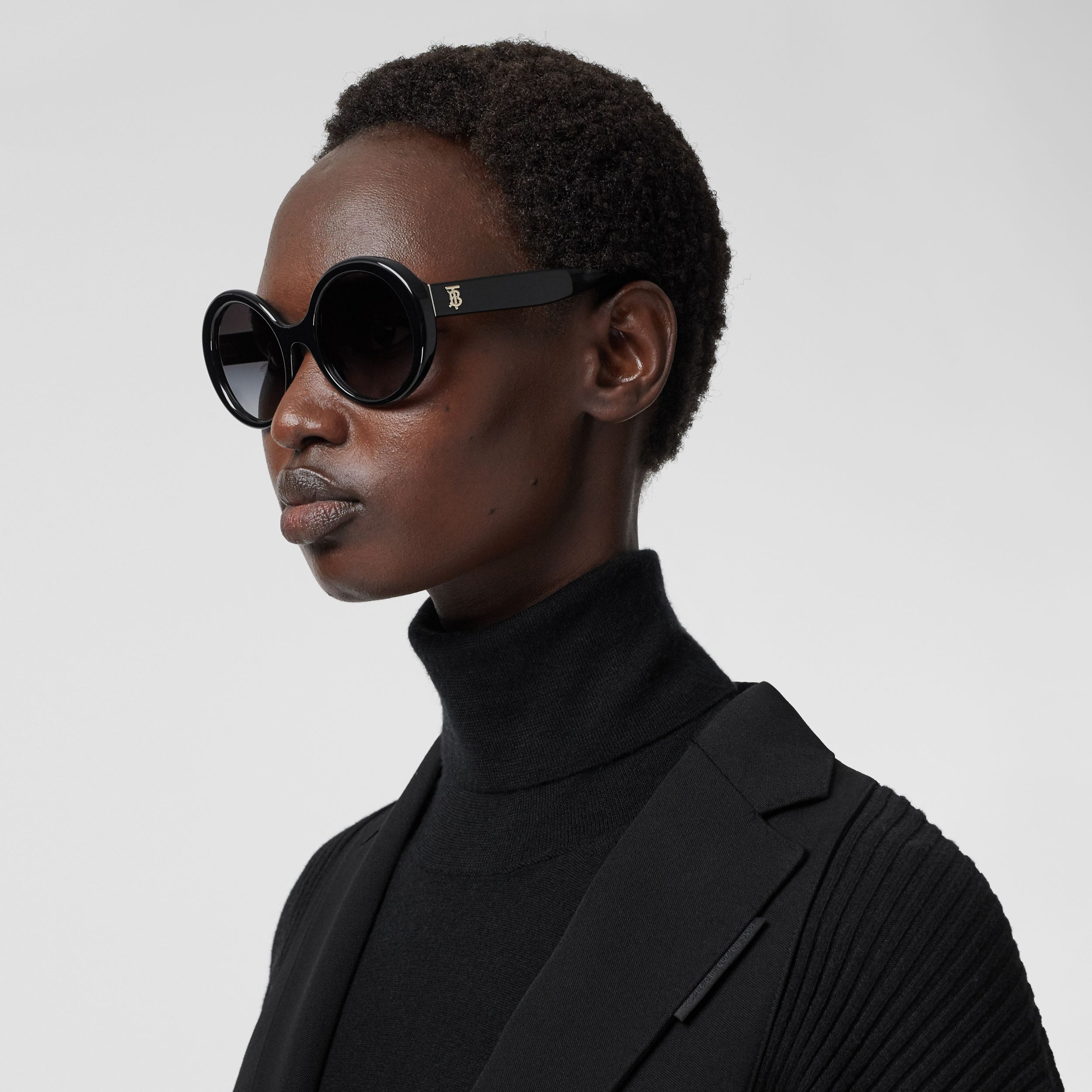 Oversized Round Frame Sunglasses in Black - Women | Burberry - 3