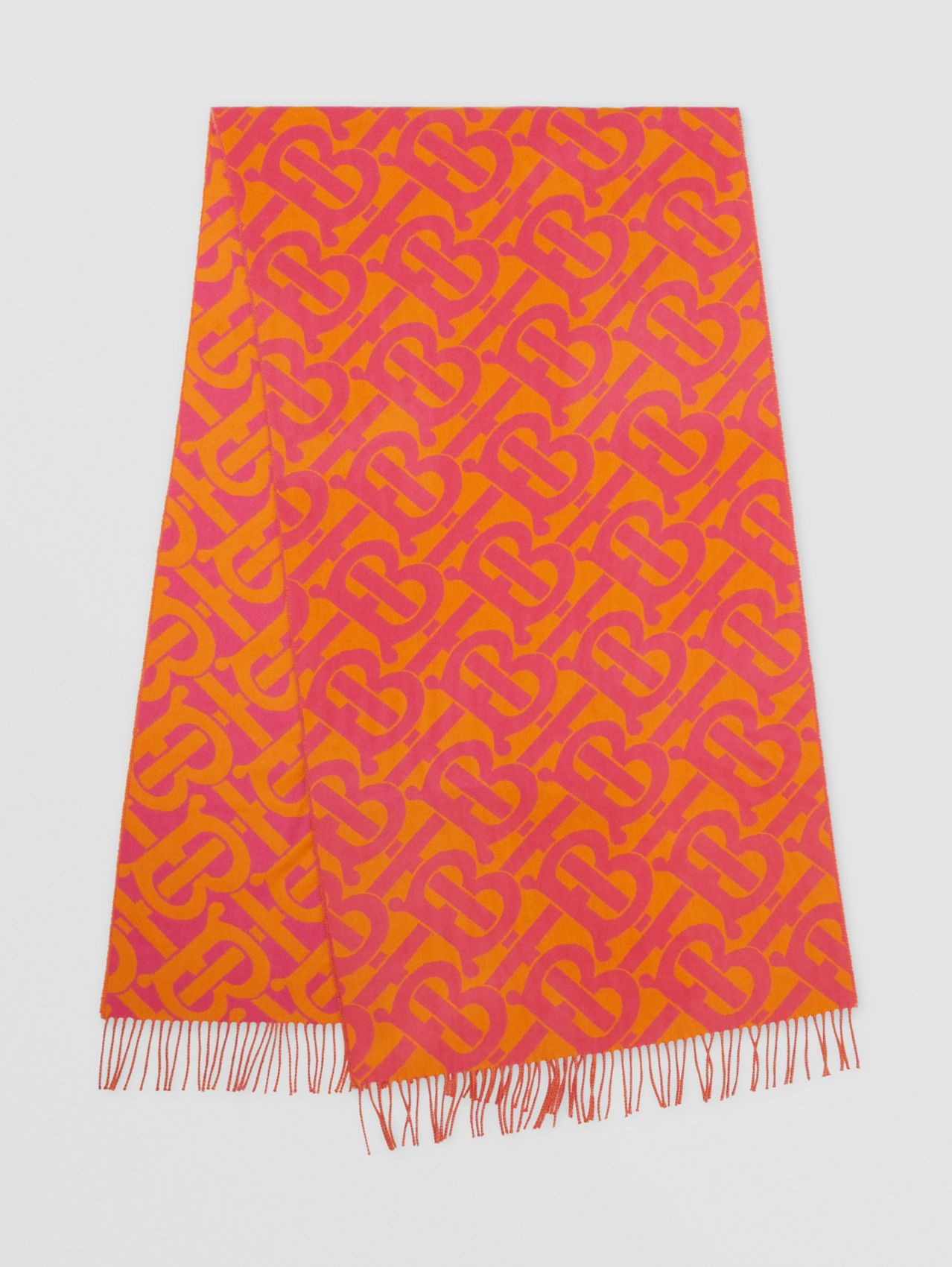 Monogram Cashmere Jacquard Scarf in Bright Pink