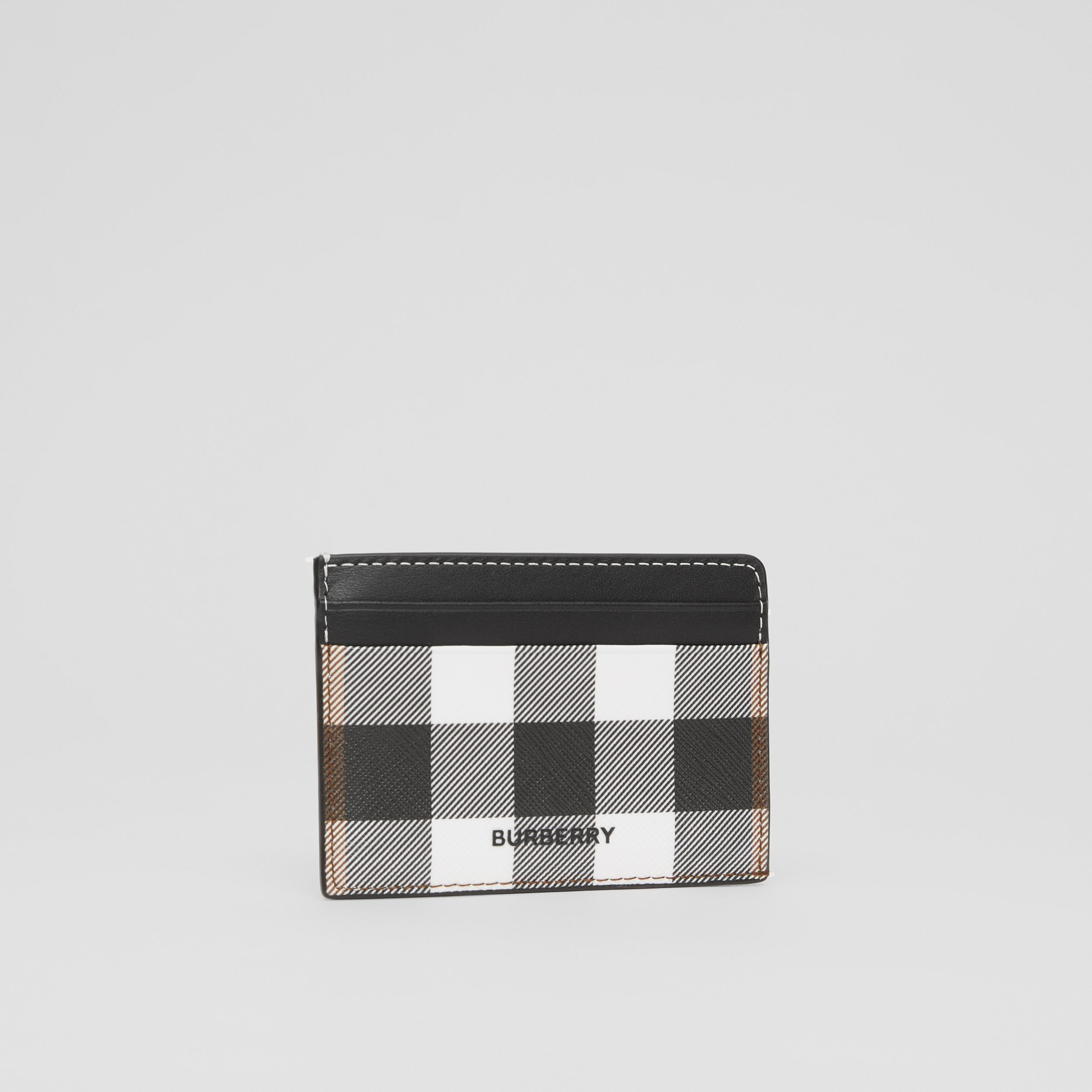 Check E-canvas and Leather Card Case in Dark Birch Brown - Men | Burberry - 4