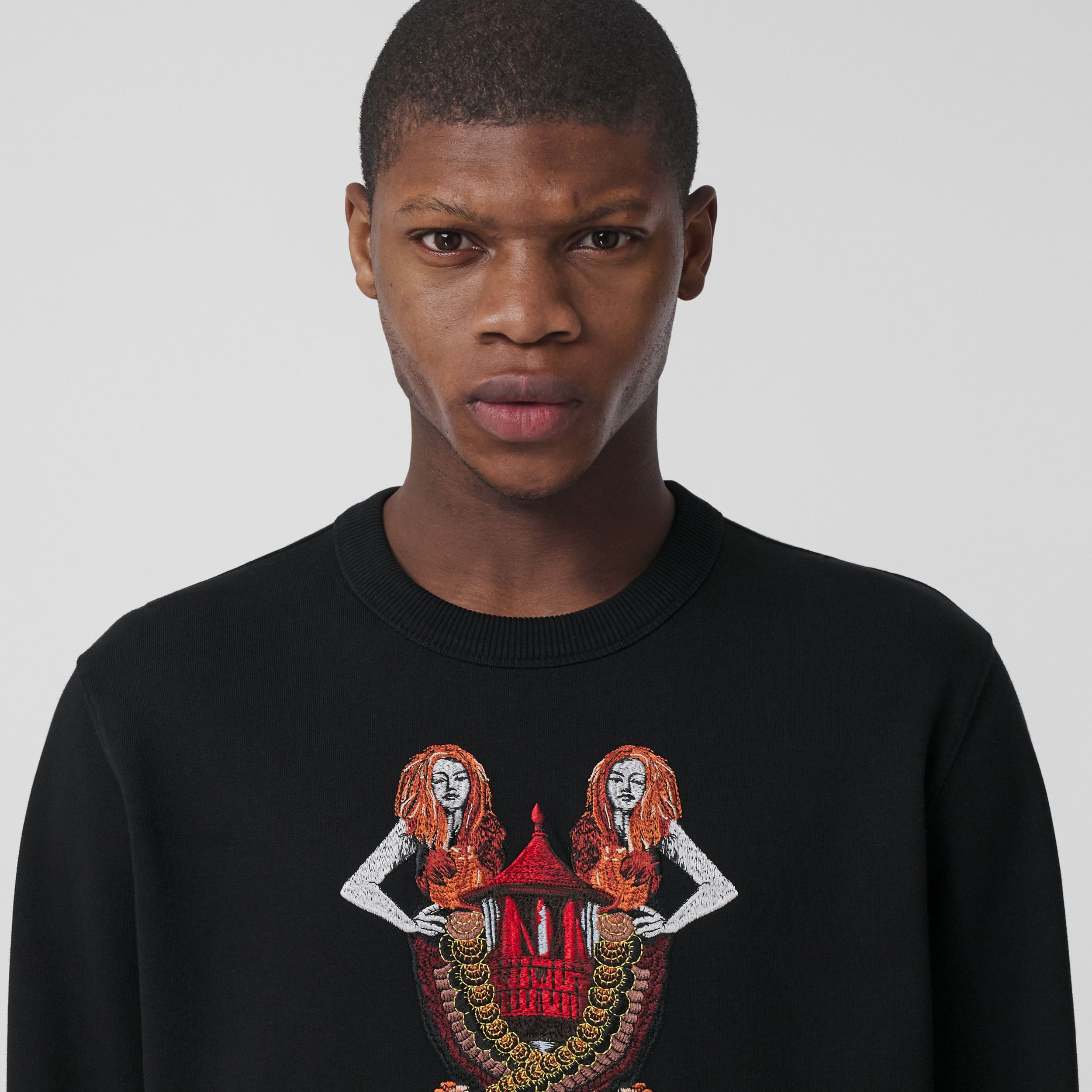 Mermaid Print Cotton Sweatshirt in Black - Men | Burberry - 2