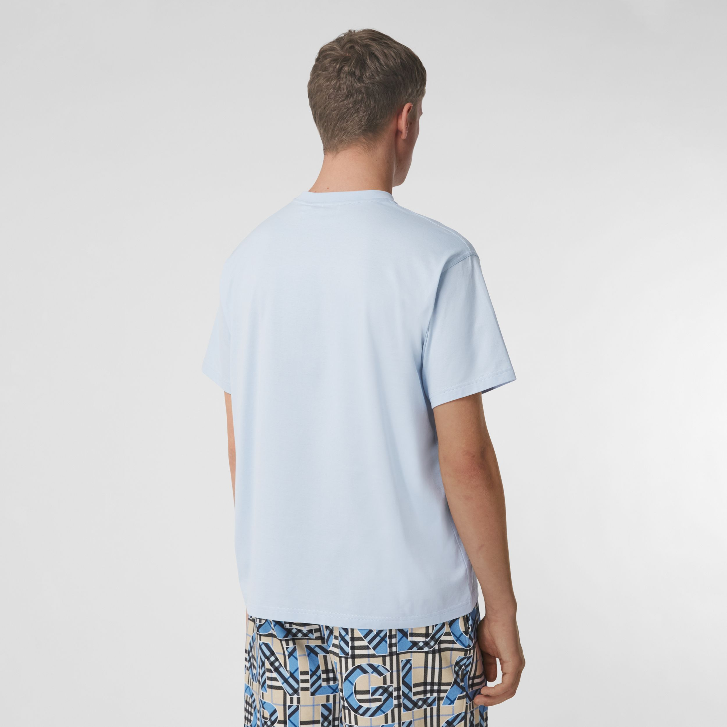 Monogram Motif Cotton Oversized T-shirt in Pale Blue - Men | Burberry - 3