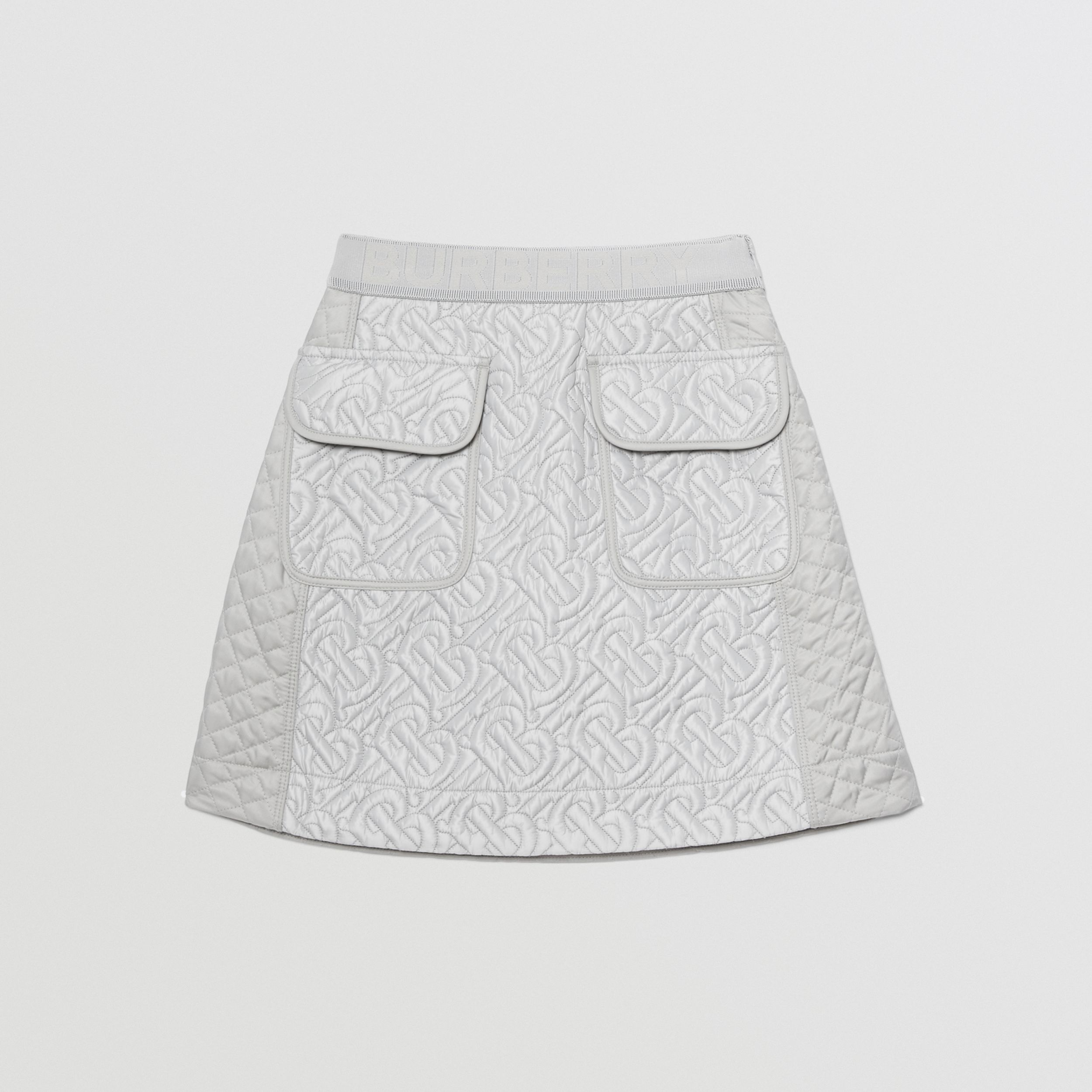 Monogram Quilted Panel Recycled Polyester Skirt in Light Grey | Burberry - 1