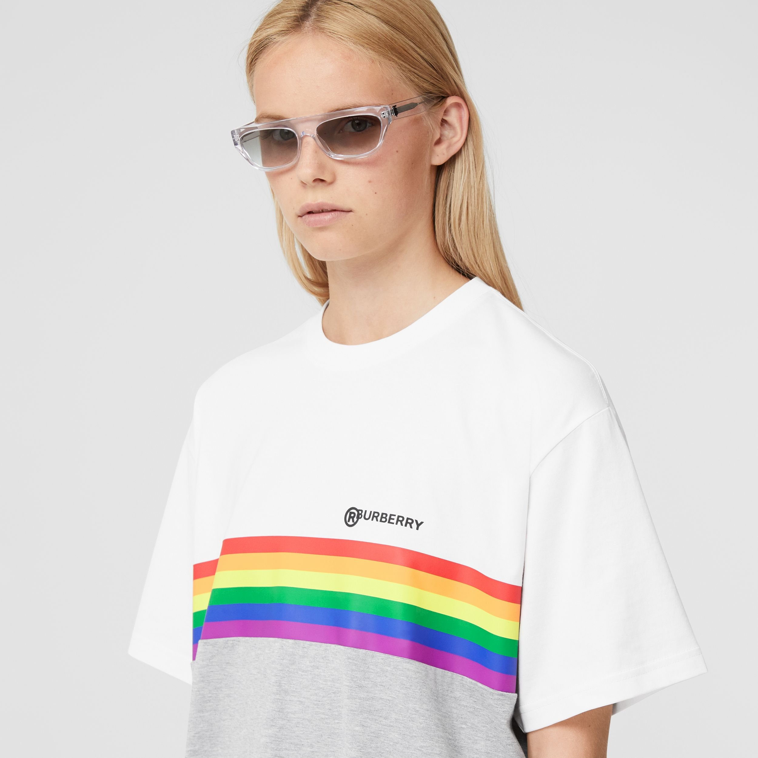 Rainbow Stripe Print Cotton T-shirt – Unisex in White | Burberry - 3