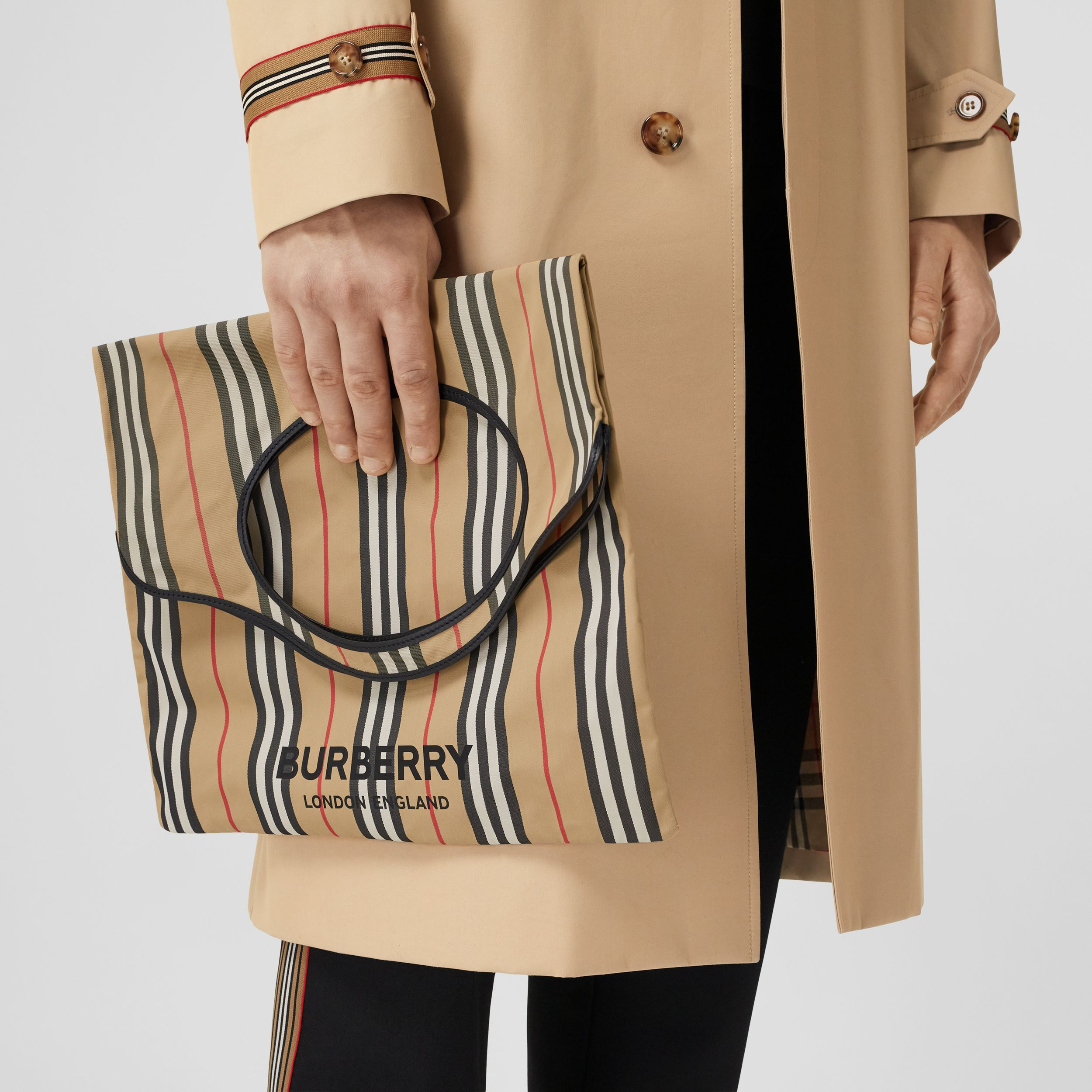 Icon Stripe ECONYL® Packaway Pocket Tote in Archive Beige | Burberry - 4