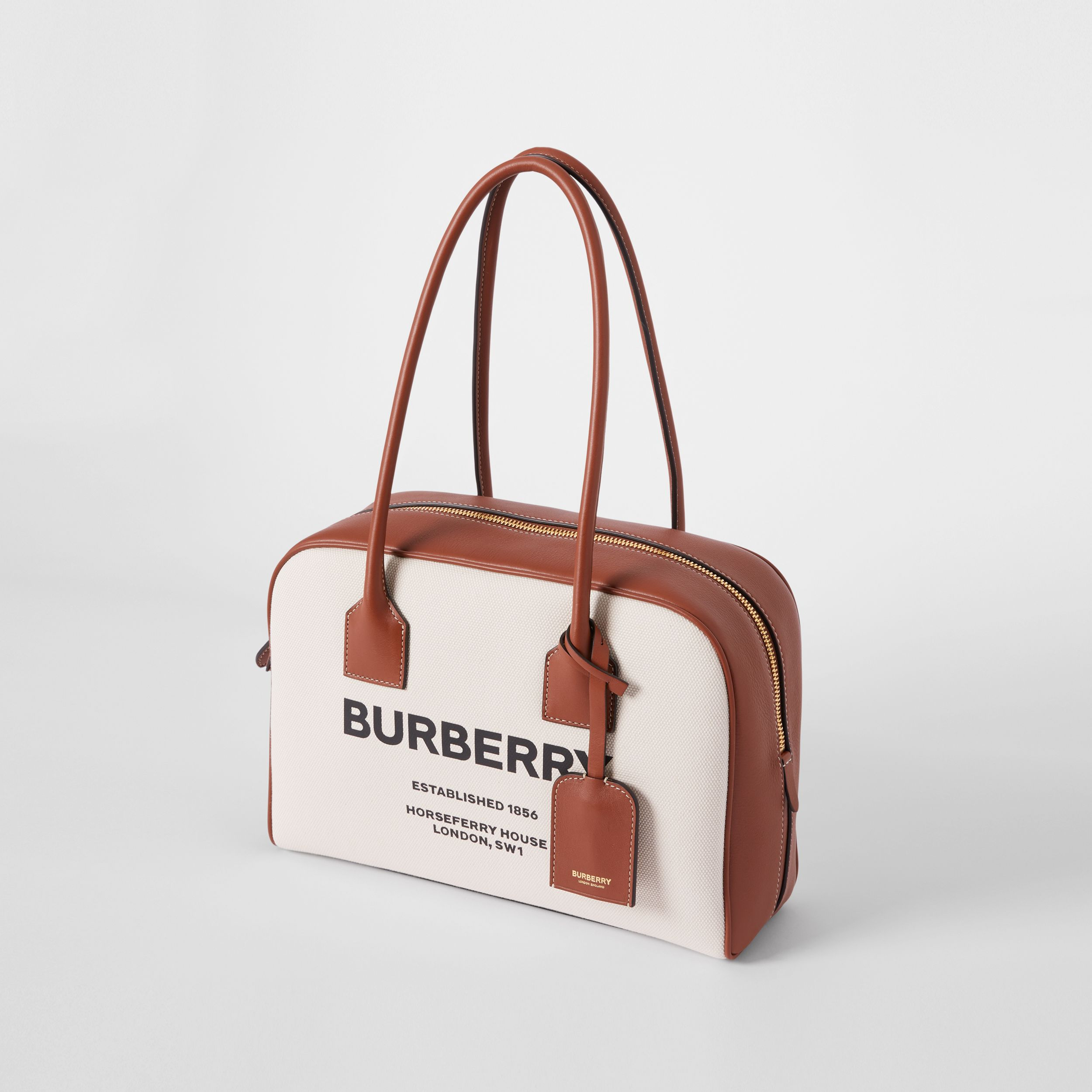 Medium Horseferry Print Cotton Canvas Half Cube Bag in Natural/tan/black - Women | Burberry - 4