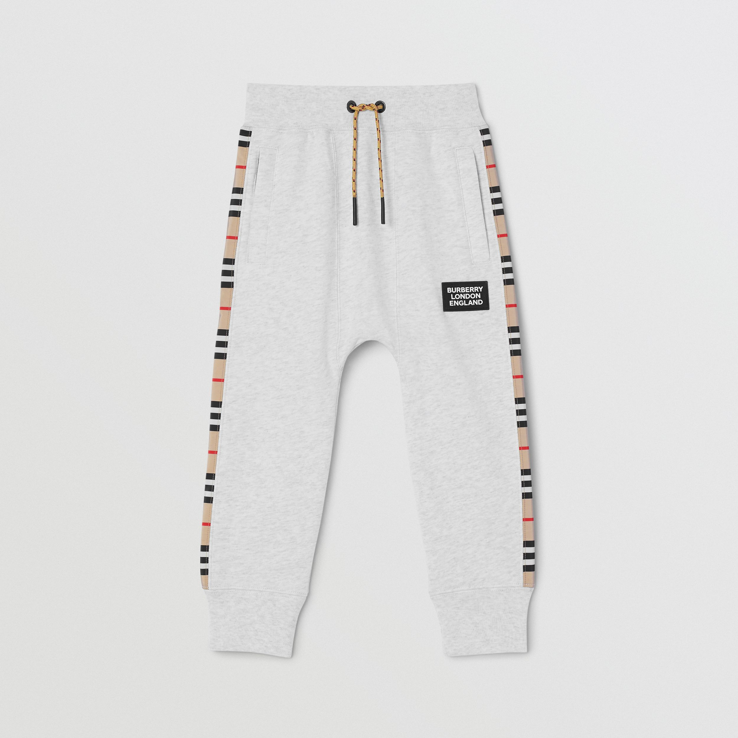 Icon Stripe Panel Cotton Jogging Pants in White Melange | Burberry - 1
