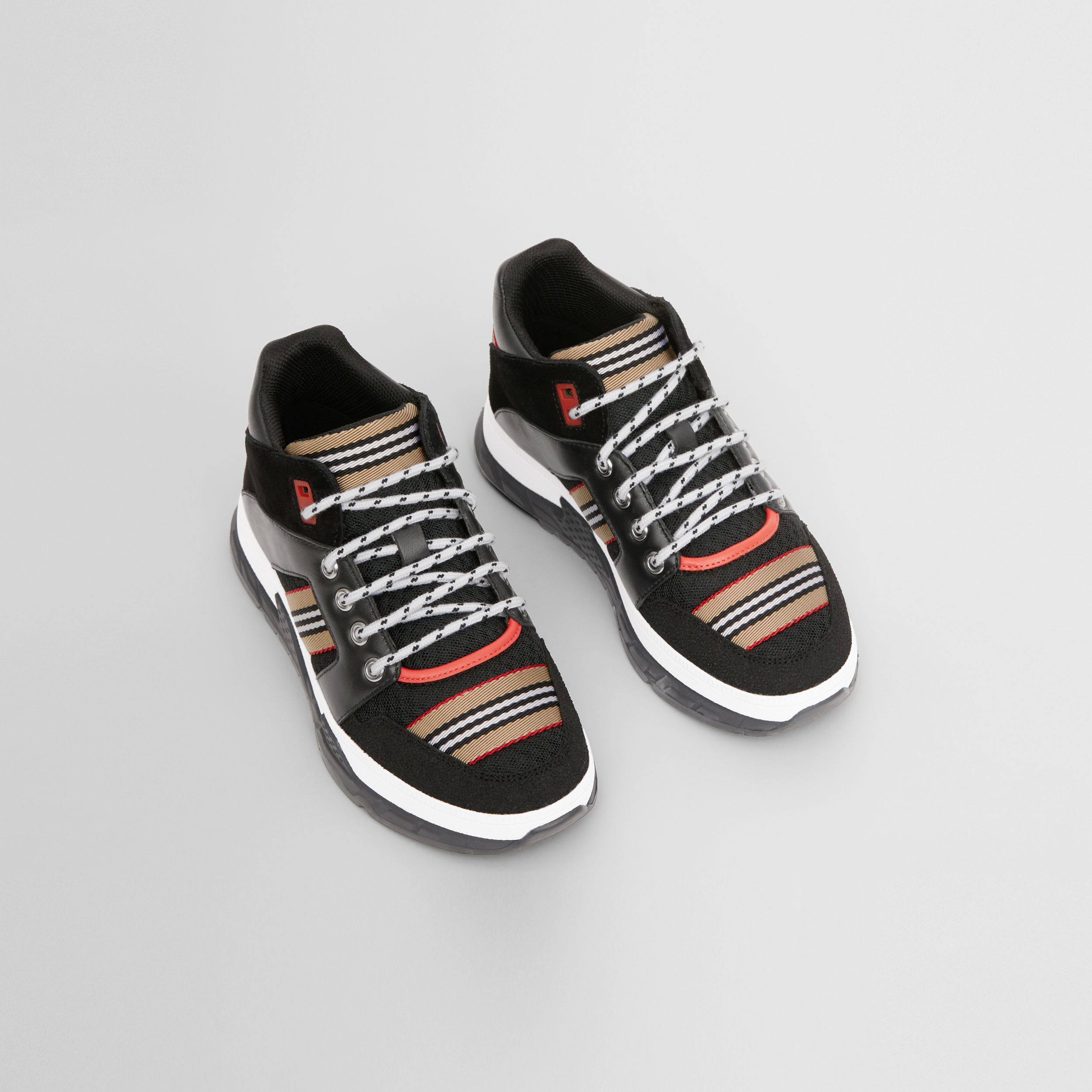 Icon Stripe Detail Suede and Mesh High-top Sneakers in Black - Children | Burberry Canada - 1